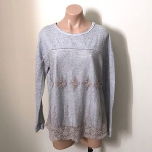 Jolt | Gray Sweater with Lace Overlay & Crocheting